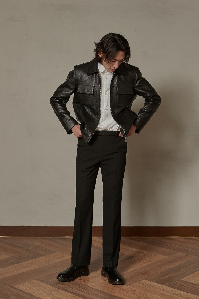 Cowhide pocket single jacket