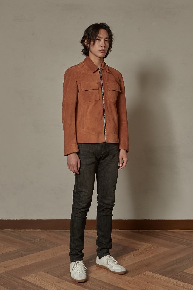 Suede pocket single jacket (camel)