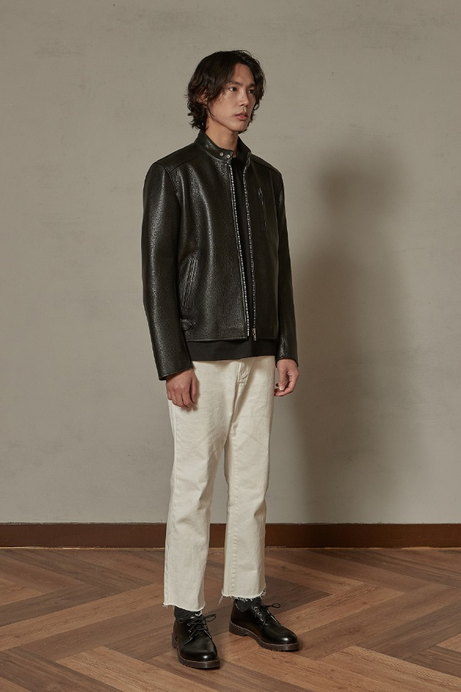 Cowhide chinacollar jacket