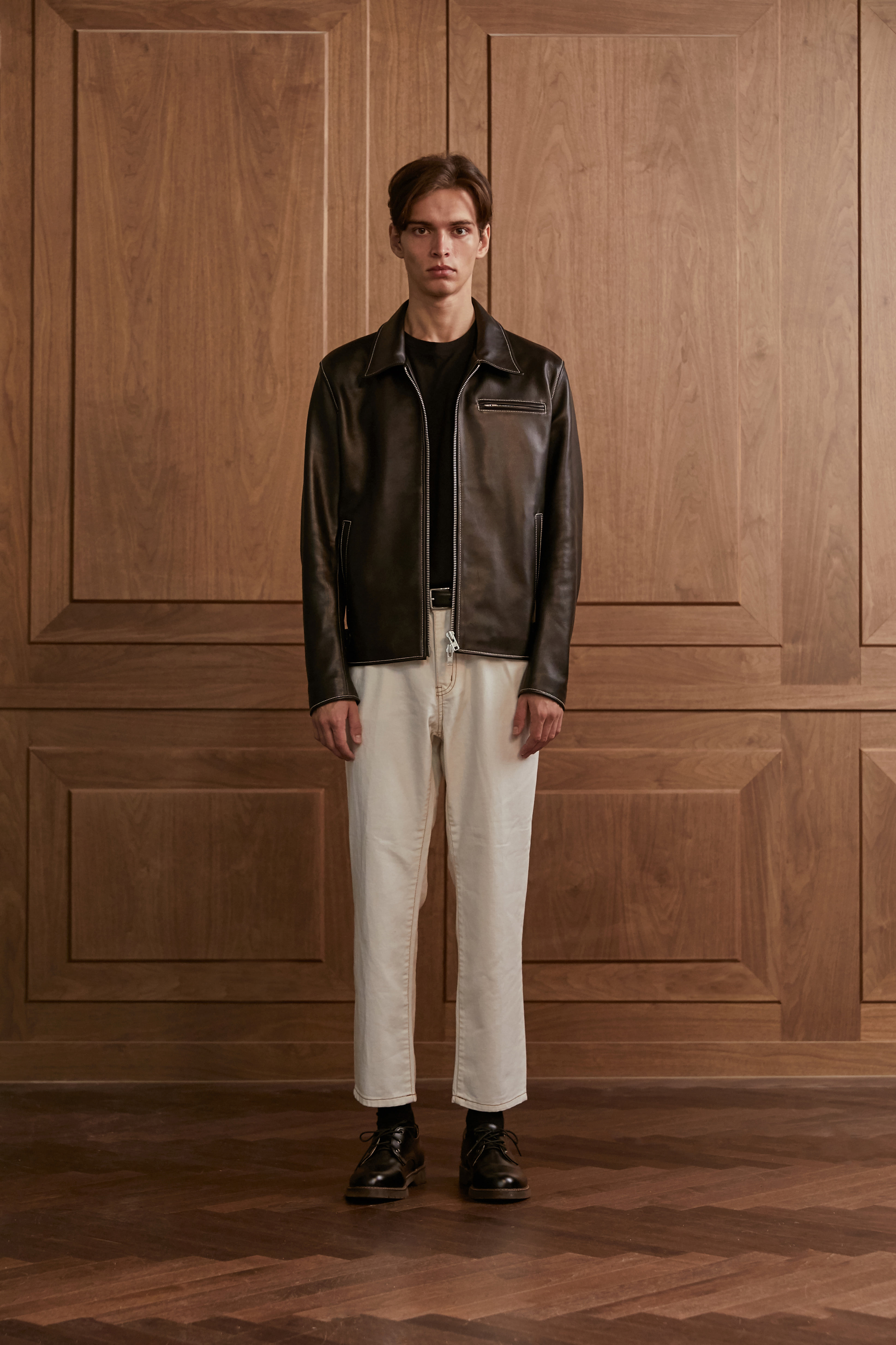 Lambskin stitch single jacket