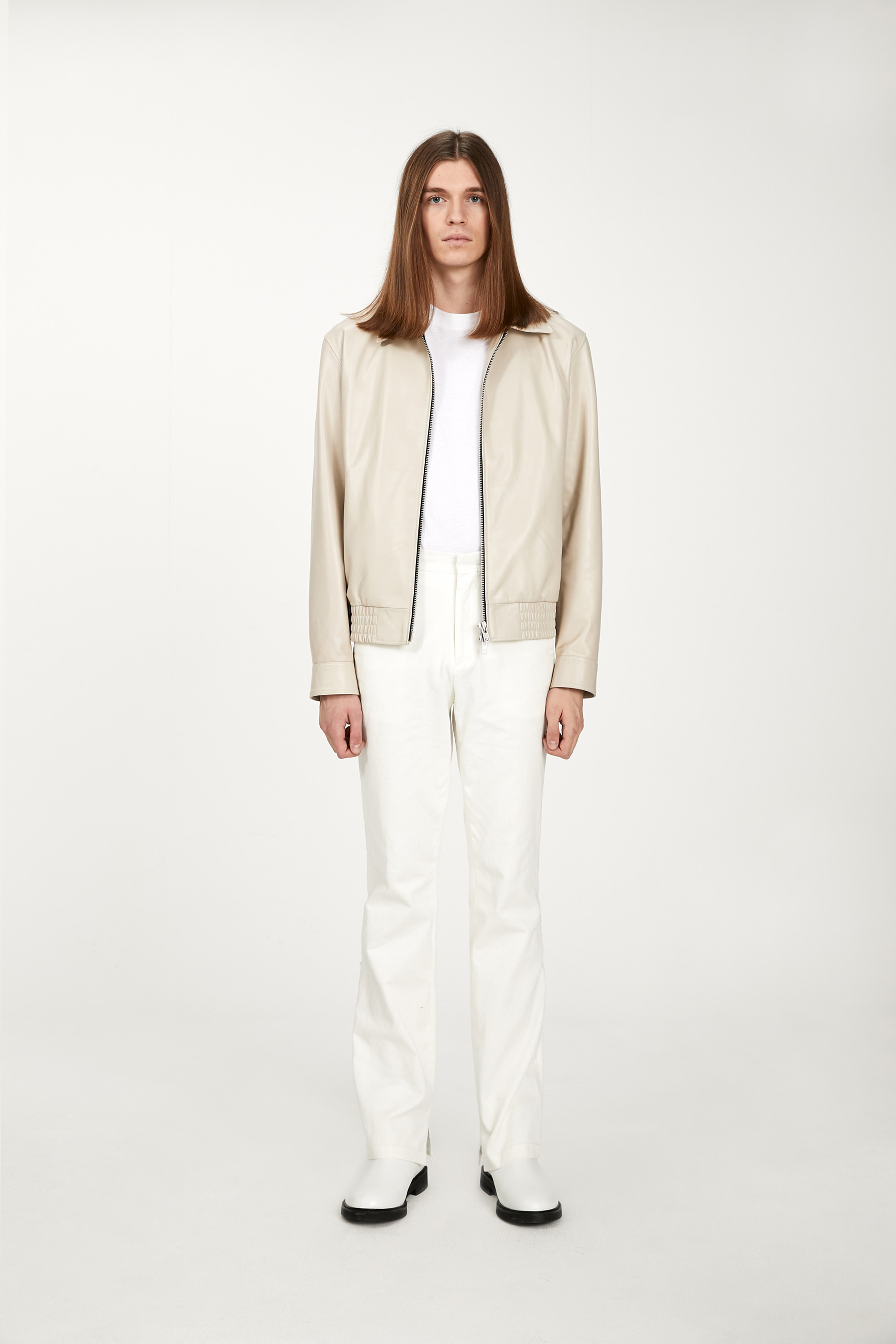 Lambskin zip-up jacket(ivory)